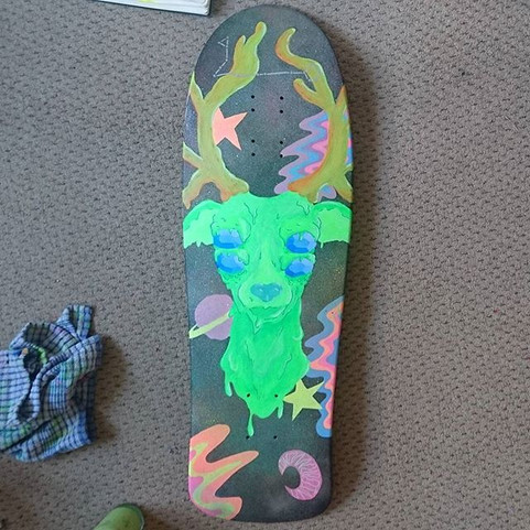 Finished custom longboard design to do with stags and space