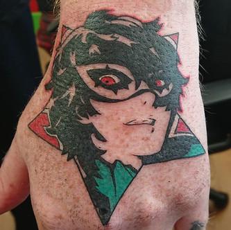 Joker from Persona 5 hand tattoo