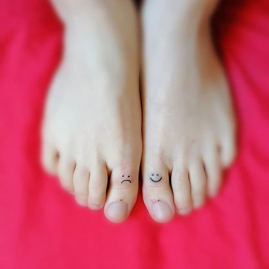 Cry now, laugh later. Handpoked on toes.