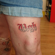 Ols English script tattoo