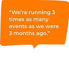 A speech bubble that says 'We're running 3 times as many events as we were 3 months ago.'