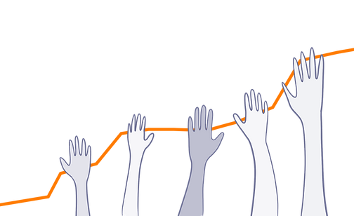 A bar chart of attendance and donations taken at events made up of raised hands.