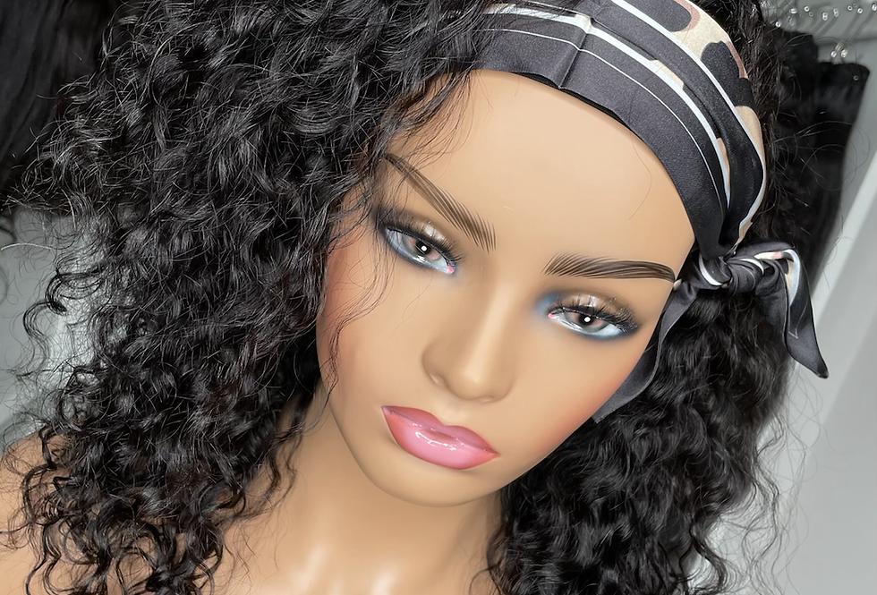 "18"" 150% density curly headband wig"