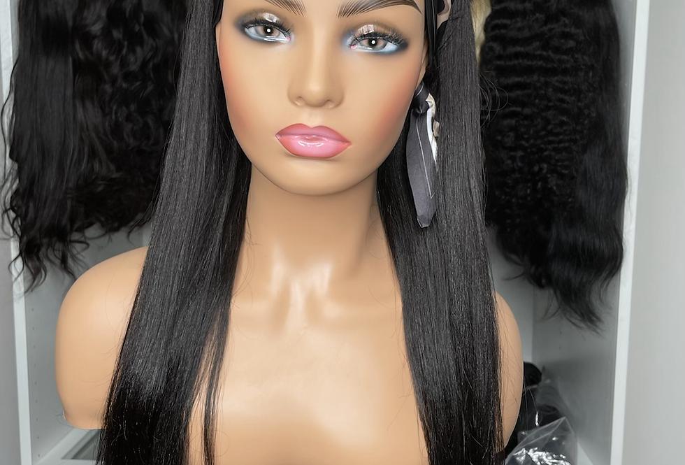 "24"" 180% density yaki straight headband wig"