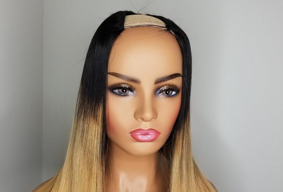 "Custom Ombre Blonde Blunt Cut U-Part Unit 3 bundles of 16"""
