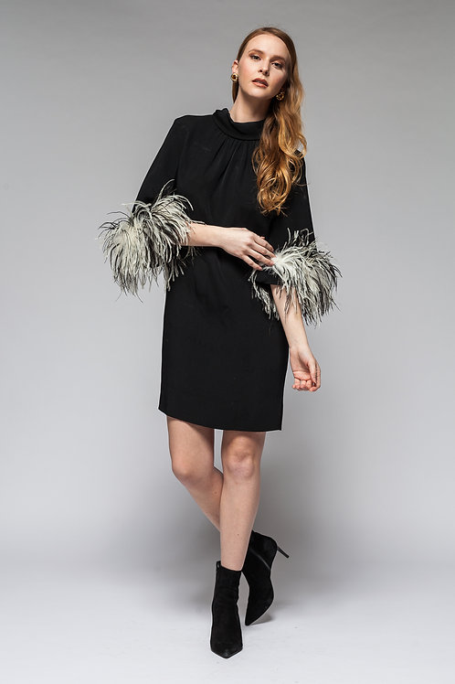 Sold Out Black Hot Feather  Dress