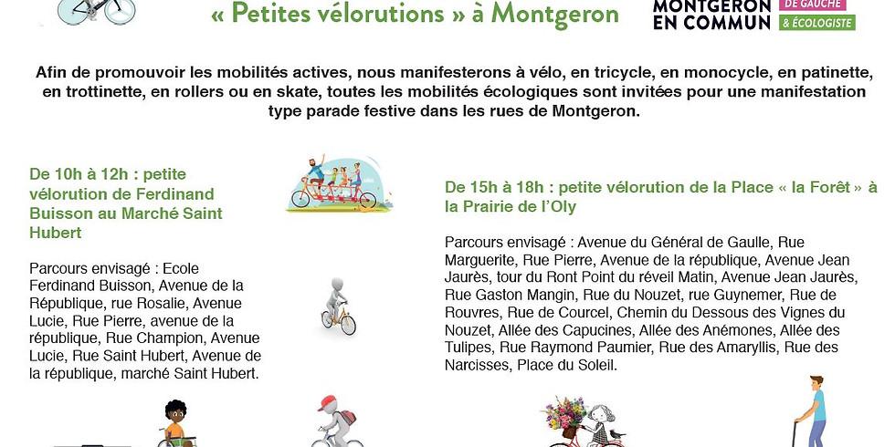 « Petites vélorutions » à Montgeron 10h à Ferdinand Buisson et 15h à la Forêt.