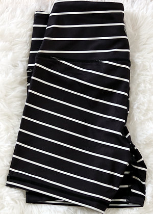 "Hey Shorty High Waist 5"" - Black Stripe Crossfit"