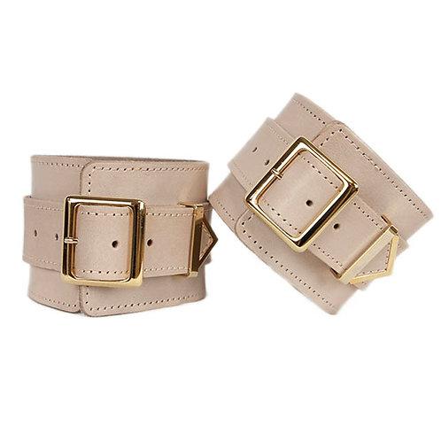 Leather Hand Cuffs Pink