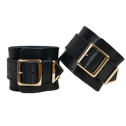 Leather Hand Cuffs Black