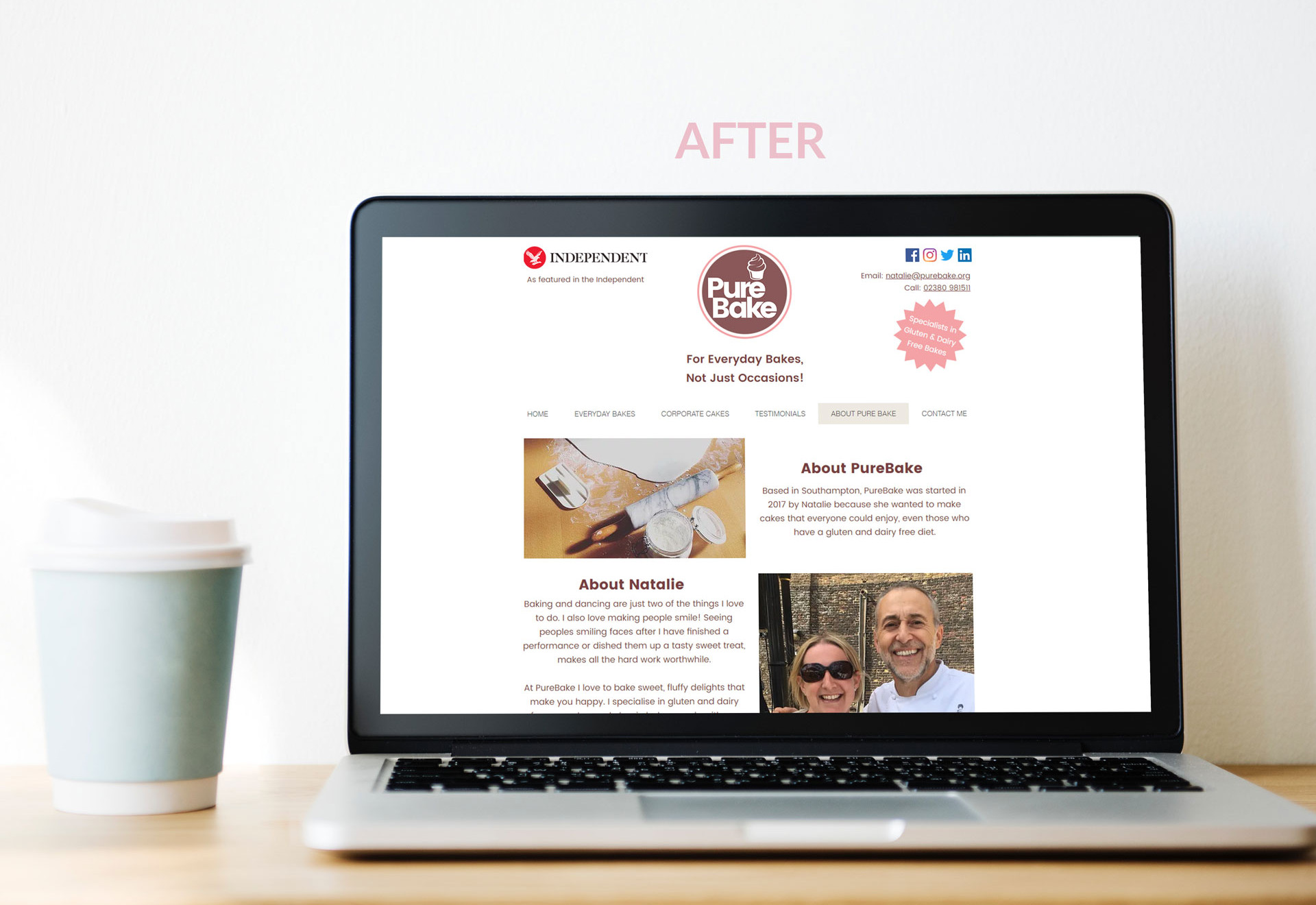 PureBake Story - Website Page After
