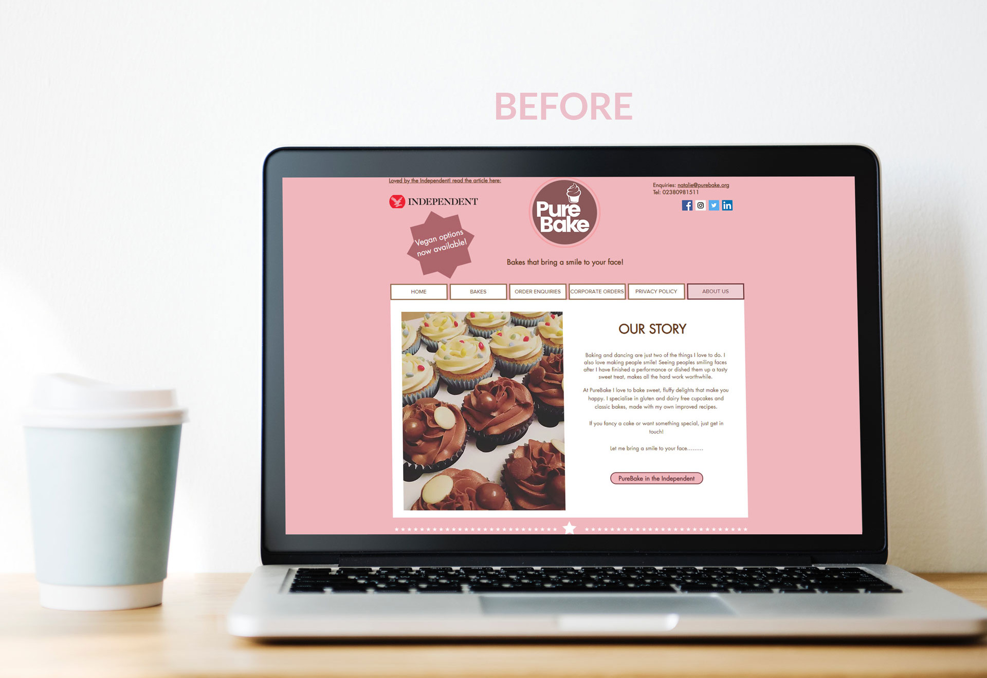 PureBake Story - Website Page Before