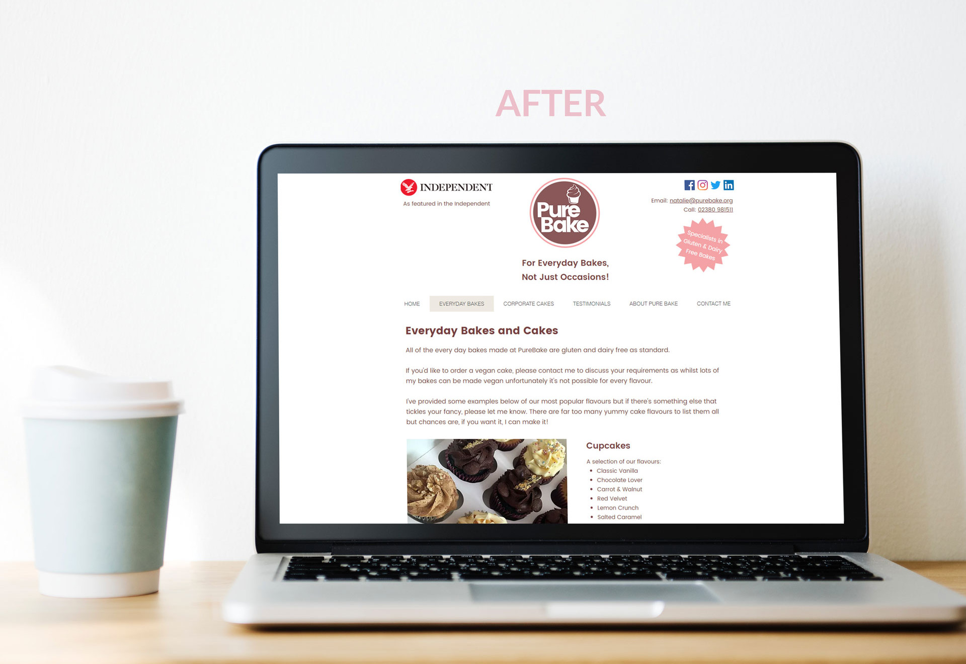PureBake Everyday Bakes - Website Page After