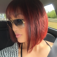 Red hair with violet highlights?! 💜 Trendy colors and a-line cut by hair stylist: Ashley Weaver #gored #purplevibe #hotcolors #alinebob #bangs