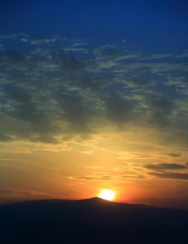 冬至の夕日