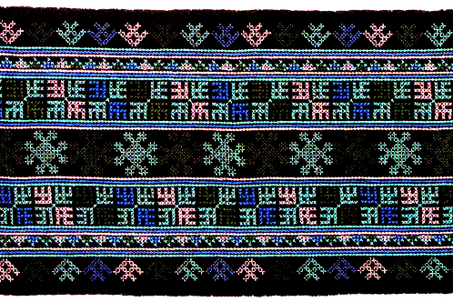 F-9 Black oblong with dense embroidered central panel light-blue & pink motifs