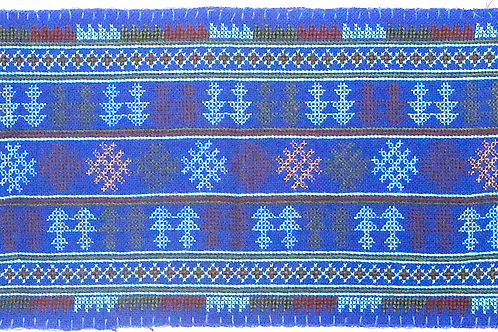 F-5 Royal Blue embroidered strip with dense tree-like patterned throughout