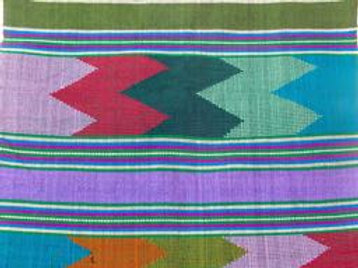 F-40 Hand-woven scarf  with 7 multi-coloured geometric bands