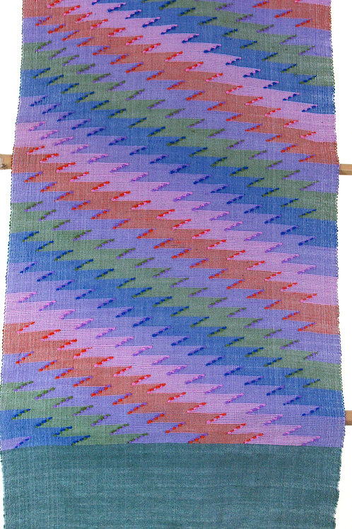 E-20  Hand-woven scarf with multi- coloured lightning motif