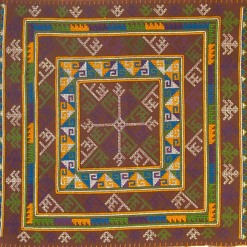 F-23  Brown square with inner squares withiin squares of blue, yellow and green