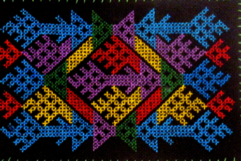 E-57Small oblong (100 x 150 mm) colourful pattern on black B/G