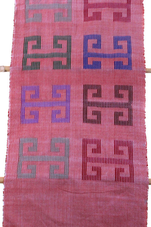 F-48 Hand-woven pink scarf with large multi-coloured box-like patterns