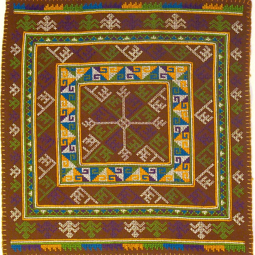 F-6  Brown square within squares patter with yellow and green triangle motifs