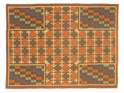 F-1  Brown diiamond-patterned  oblong with 4patterned squares in each corner
