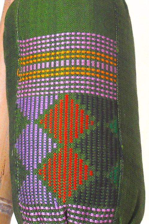 E-101Small green hand-woven neck or back pillow