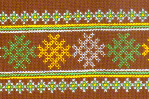 F-7 Narrow brownstripwith long central embroidered oblong in yellow and green