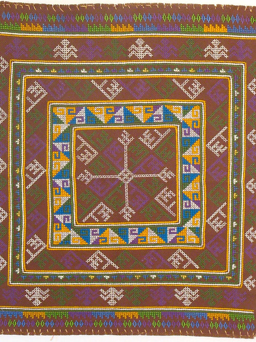 F-3Brown backgroundwith squares within squares + coloured surrounding patterns