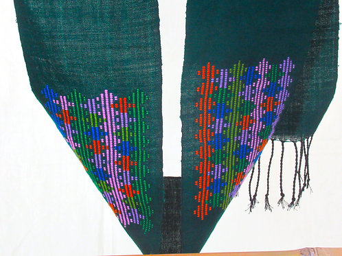 E-10Narrow bottle-green edging strip with6 blocks of coloured embroidery