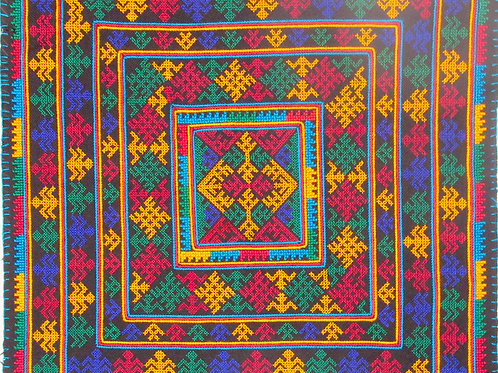 D-27  Large multi-coloured embroidered rectangle