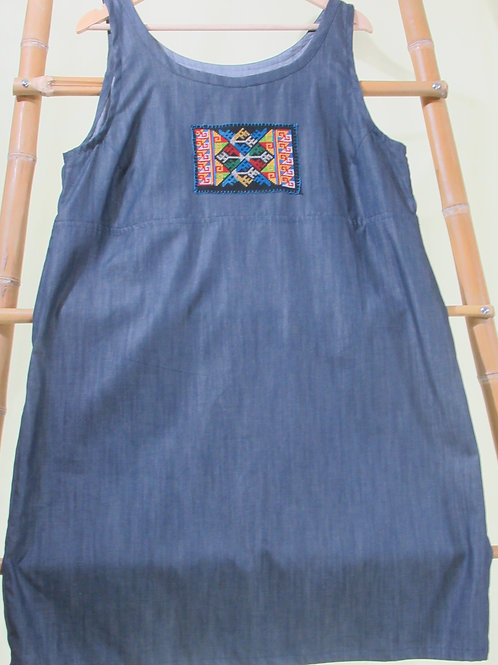 G-13 Blue/grey loose-fitting cotton dress with embroidered rectangleon bodice