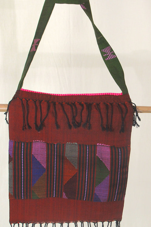 G-1Mid-brown fully-lined, hand-woven  tote bag.