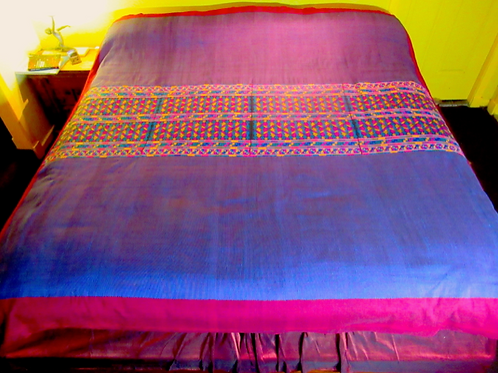 E-88 Blue and Maroon embroidered bedspread