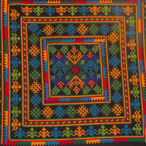 Embroidered square with traditional Symbolic icons D-22