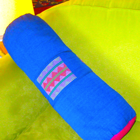 E-75Blue yoga bolster with Plum ends and 3 woven patches