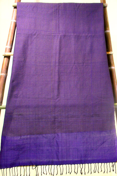 D-45Purple throw with lime green vertical pin-stripes throughout.