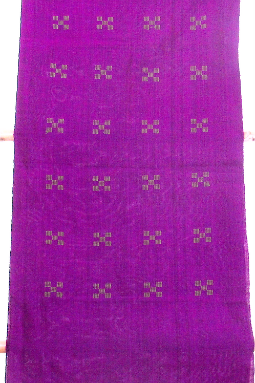 F-49Purple scarf with small green square-crosspatterns