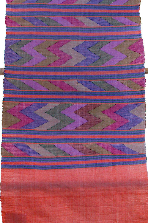 E-8 multicoloured Zig-zag pattern scarf.. peach ends and tassles