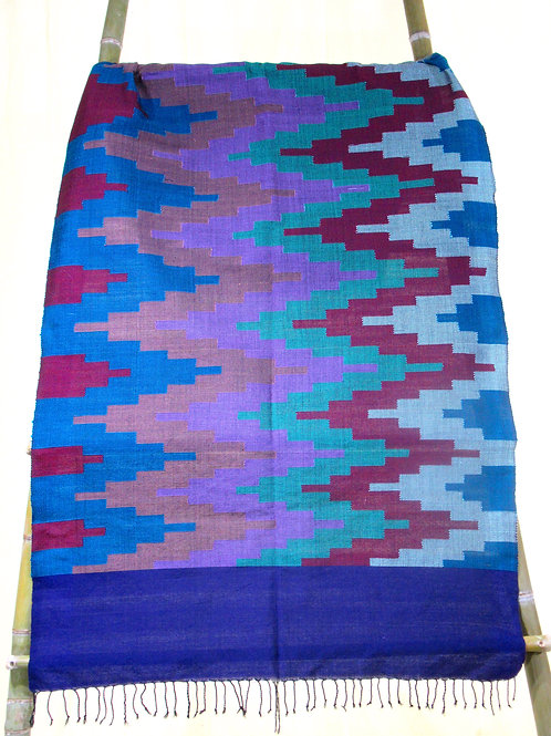 16.Large wall hanging / throw with teal, blue red, mauve geometric patterns