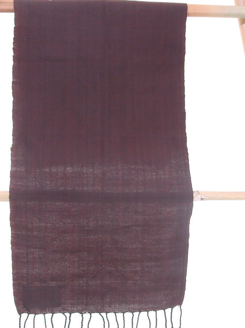 E-42. Plain brown hand-woven cotton with black fringes (900 x 300 mm)