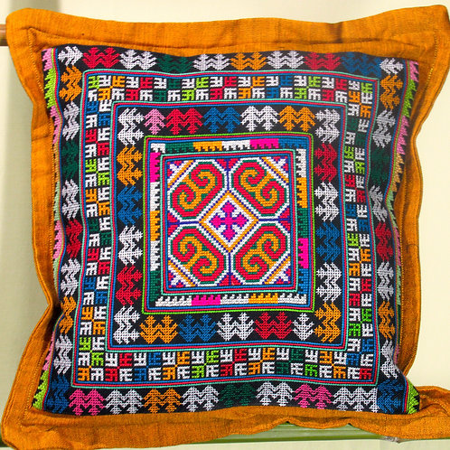 D-63 Medium-size densely embroidered cushion cover
