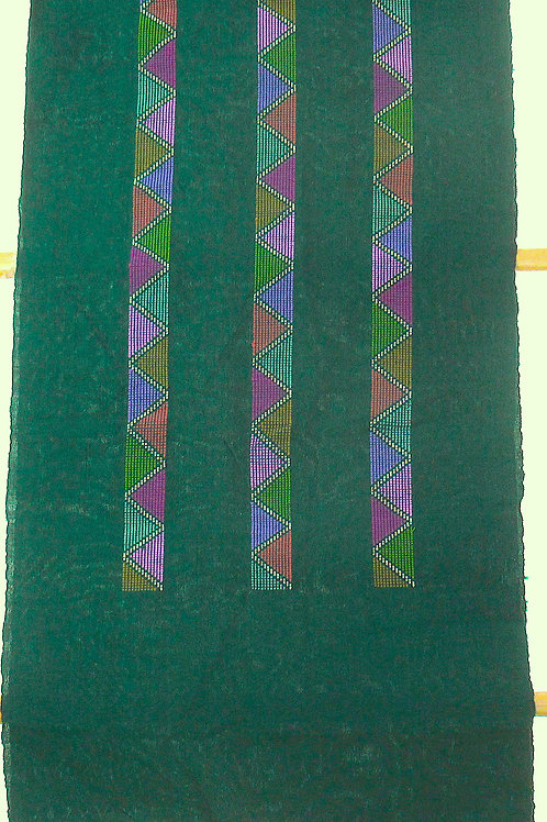 F-39   Dark green scarf with 3 multi-coloured triangular stripes