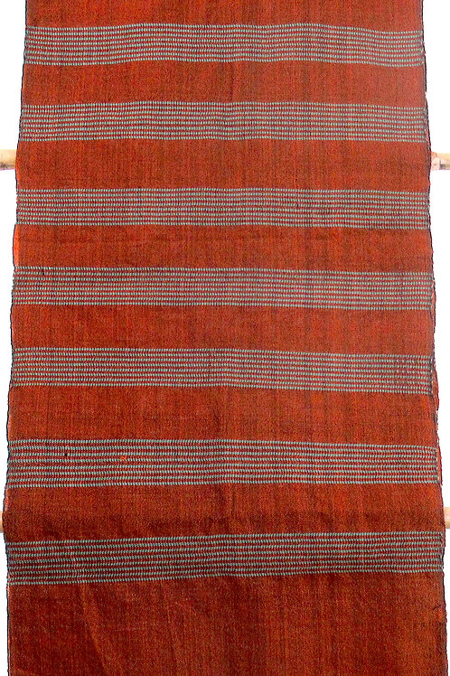 F-50  Honey brown hand-woven scarf with thin sage-coloured stripes
