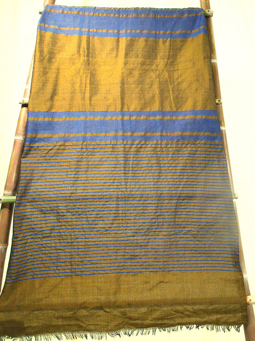 D-47 Gold fabric with with bands of wide blue horizontal stripes