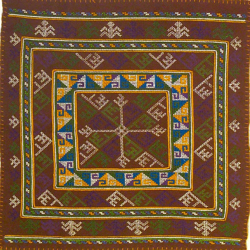 F-11 Brown square within squarepatterns with yellow and blue motifs