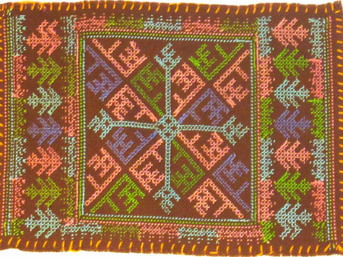 F-12 Brown embroidery with central square in turquoise,pink and green patterns