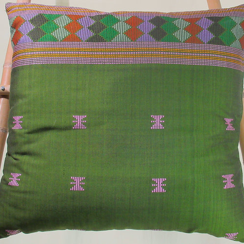 D-68 Large olive green hand-woven cushion cover